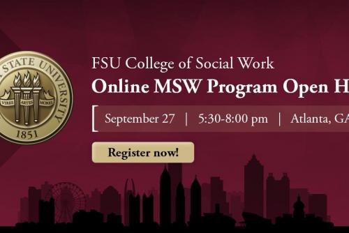 On September 27 from 5:30 to 8:00 p.m., FSU faculty, staff and social work professionals will be on hand at a Florida State University Online MSW Program Open House event taking place at The Coca-Cola Company in Atlanta, GA.